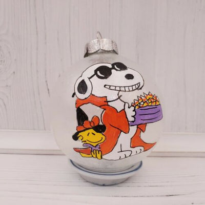 Peanuts Gang Handpainted Snoopy Glass Frosted Ball Halloween Ornament - Piglet's Closet