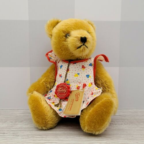 "Hermann German Mohair 12"" Jointed Golden Teddy Bear with Balloon Outfit - Piglet's Closet"