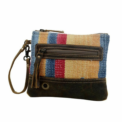 Myra Upcycled Midsummer Tapestry and Canvas Pouch Wristlet Purse - Piglet's Closet