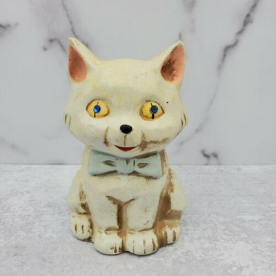 Vintage Napcoware Taiwan Ceramic Cat Bank Figurine Rhinestone Eyes - Piglet's Closet