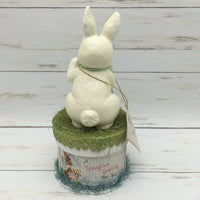 Bethany Lowe Retro Bunny on Easter Box Springtime Greetings Figurine