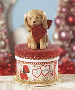 Bethany Lowe Designs Puppy Love Valentine's Dog on Box - Piglet's Closet
