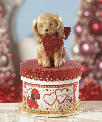 Bethany Lowe Designs Puppy Love Valentine's Dog on Box