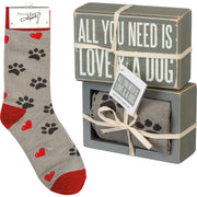 PBK All You Need Is Love and A Dog Wood Sign and Socks Gift Set - Piglet's Closet