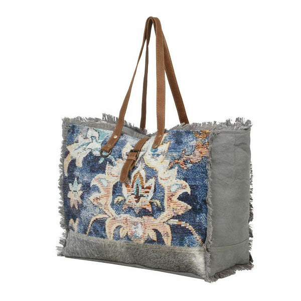 Myra Upcycled Dazzle Blue Canvas & Tapestry Weekender Bag Purse - Piglet's Closet
