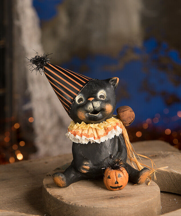 Bethany Lowe Designs Halloween Jinx Black Cat Pumpkin Figurine - Piglet's Closet
