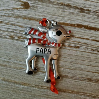 Hallmark Rudolph The Red Nosed Reindeer PAPA Metal Ornament - Piglet's Closet
