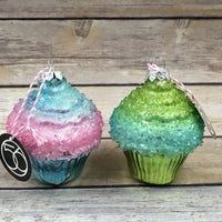 NEW Dept 56 Ombre Cupcake Glass Ornament Set of 2 Bakery - Piglet's Closet