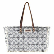 Myra Upcycled Achromic Grey Tapestry & Leather Weekender Bag Purse - Piglet's Closet