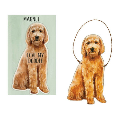 Primitives by Kathy Dog Magnet and Ornament Set - Goldendoodle - Piglet's Closet