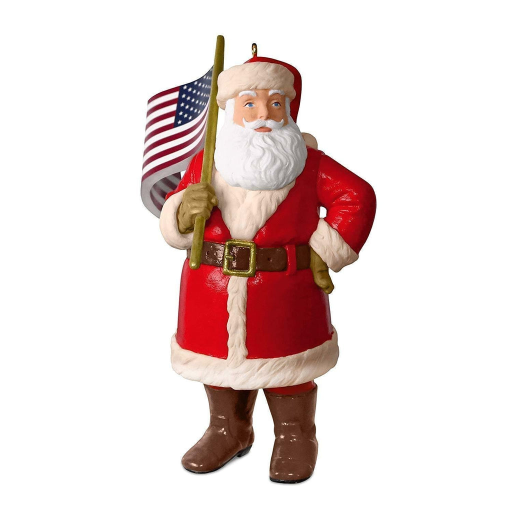 2018 Hallmark Keepsake Ornament SALUTING OLD GLORY Patriotic Santa - Piglet's Closet