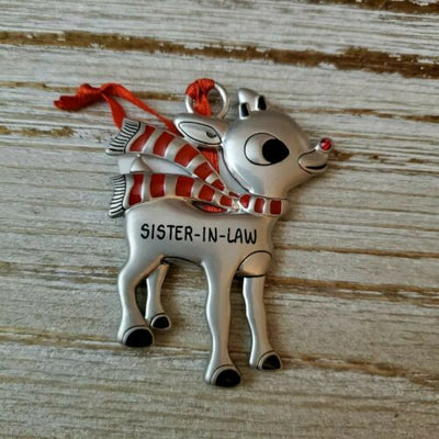 Hallmark Rudolph The Red Nosed Reindeer Sister-in-Law Metal Ornament - Piglet's Closet