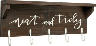 PBK Neat and Tidy Bathroom Laundry Room Wood Hook Board Shelf - Piglet's Closet
