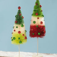 Bethany Lowe Designs Christmas Jolly Tricolored Red Green Bottle Brush Tree