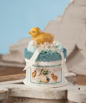 Bethany Lowe Designs Easter Chick on Box Figurine