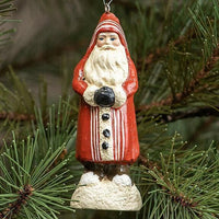 "Ragon House 4""  Red with Ivory Stripes Belsnickle Santa Ornament Figurine"