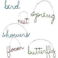 Bethany Lowe Designs Spring Bling Wire Word Ornament Bird Nest Flower Showers - Piglet's Closet