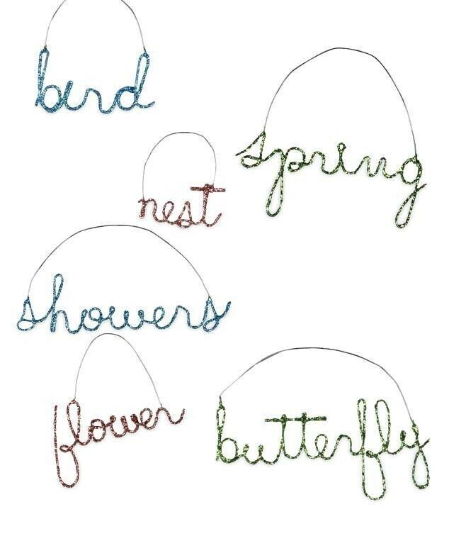 Bethany Lowe Designs Spring Bling Wire Word Ornament Bird Nest Flower Showers