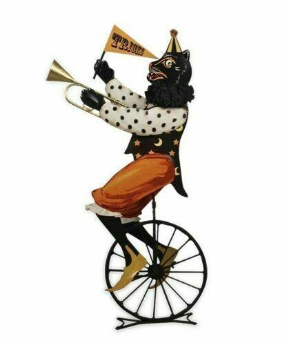 Bethany Lowe Black Circus Cat on Unicycle Halloween Figure #TF7656