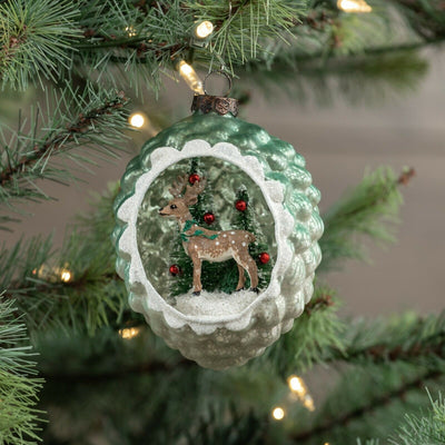Ragon House Deer & Tree Scene Glass Pinecone Christmas Ornament - Piglet's Closet