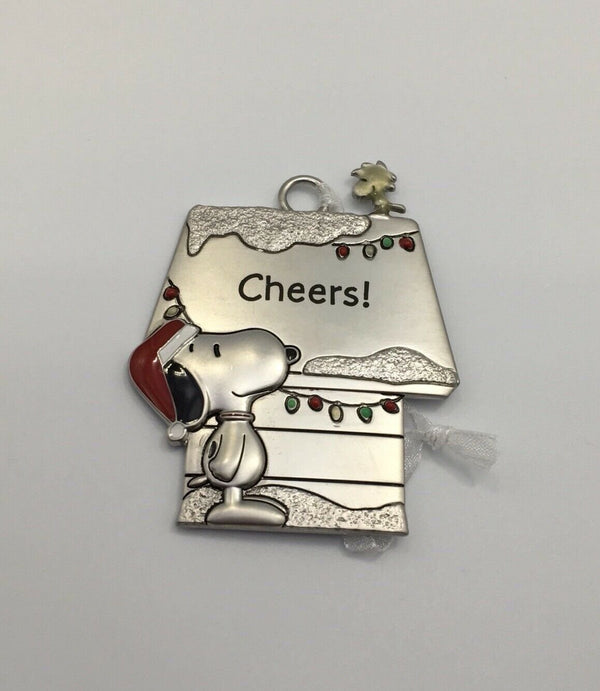 NEW Hallmark Peanuts Snoopy & Woodstock Metal Doghouse CHEERS! Ornament - Piglet's Closet