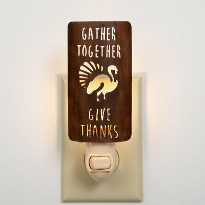 CTW Gather Together Give Thanks Turkey Wall Night Light Metal Room Lighting - Piglet's Closet