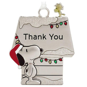 Hallmark Peanuts Snoopy & Woodstock Metal Doghouse Thank You Ornament - Piglet's Closet