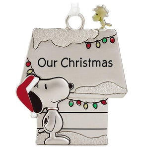 Hallmark Peanuts Snoopy & Woodstock Metal Doghouse Our Christmas Ornament - Piglet's Closet