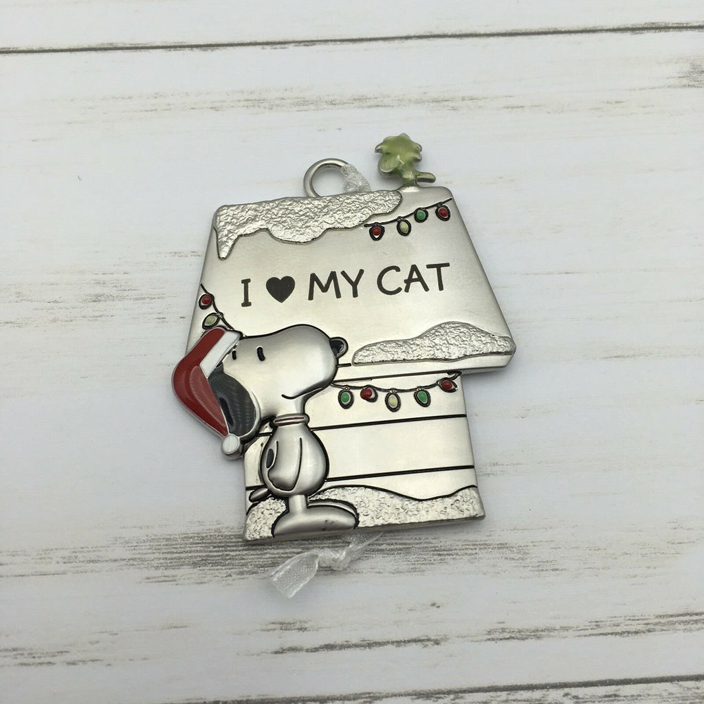 Hallmark Peanuts Snoopy & Woodstock Metal Doghouse I Love My Cat Ornament - Piglet's Closet