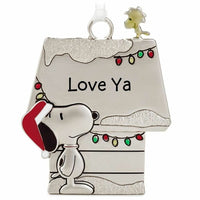 Hallmark Peanuts Snoopy & Woodstock Metal Doghouse Love Ya Christmas Ornament - Piglet's Closet