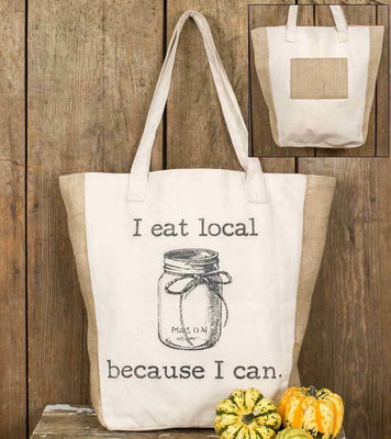 CTW Canvas  I Eat Local Market Tote Bag Colonial Tin Works Primitive - Piglet's Closet