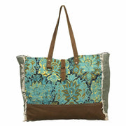 Myra Bags Aqua Magic Upcycled Tapestry Canvas & Leather Weekender Bag - Piglet's Closet