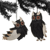 NEW Dept 56 Halloween Black White Owl Ornaments Set of 2 HOOT HOOT - Piglet's Closet