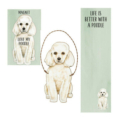 Primitives by Kathy Dog Magnet, Notebook Ornament Set - Poodle - Piglet's Closet
