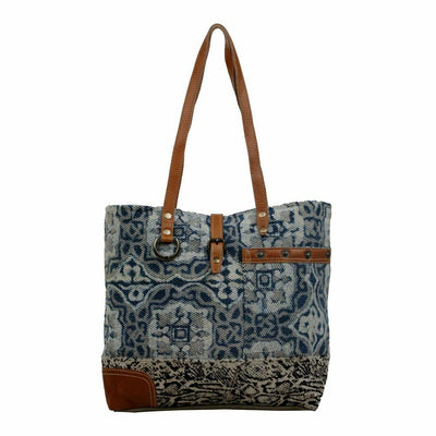 Myra Upcycled Tinted Indigo Canvas and Leather Tote Bag Purse - Piglet's Closet