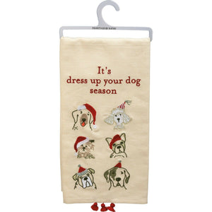 PBK It's Dress Up Your Dog Season Christmas Embroidered Dish Towel - Piglet's Closet