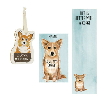 Primitives by Kathy Magnet, Notebook Dog Ornament Set - Corgi - Piglet's Closet