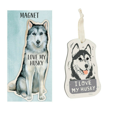 Primitives by Kathy Dog Magnet and Ornament Set - Husky - Piglet's Closet
