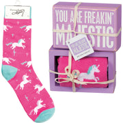 PBK You Are Freakin' Majestic Unicorn Wood Sign and Socks Gift Set - Piglet's Closet