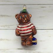 Retired Christopher Radko Glass Teddy Bear in Hat with Gift Ornament