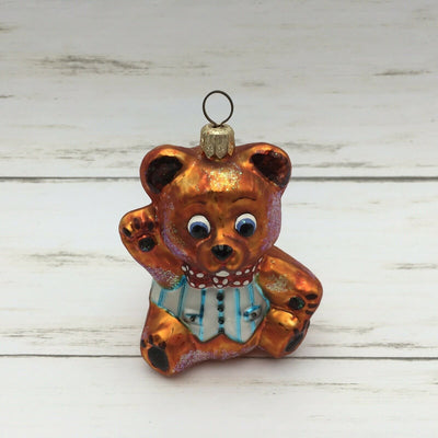 Retired Christopher Radko Blown Glass Teddy Bear Ornament