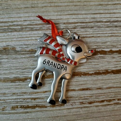 Hallmark Rudolph The Red Nosed Reindeer GRANDPA Metal Ornament - Piglet's Closet