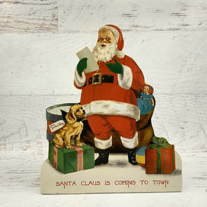 Bethany Lowe Retro Christmas Friends Santa is Coming to Town Dummy Board