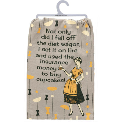 PBK Retro Fell Off The Diet Wagon Novelty Dish Towel - Piglet's Closet