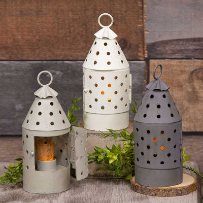 Primitive Farmhouse Railroad Lantern Timer Votive Set of 3 - Piglet's Closet