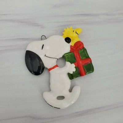 Vintage Snoopy and Woodstock with Present Ceramic Japan Christmas Ornament - Piglet's Closet