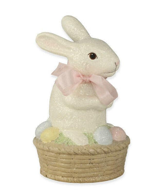 Bethany Lowe Easter Spring Bunny Rabbit On Egg Basket Figurine