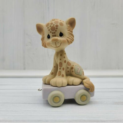 1987 Precious Moments Birthday Train Age 7 Years Old Leopard Figurine 109479 - Piglet's Closet