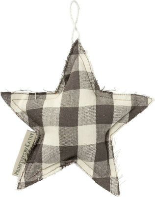 PBK Farmhouse Christmas Buffalo Check Fabric Star Ornament - Piglet's Closet