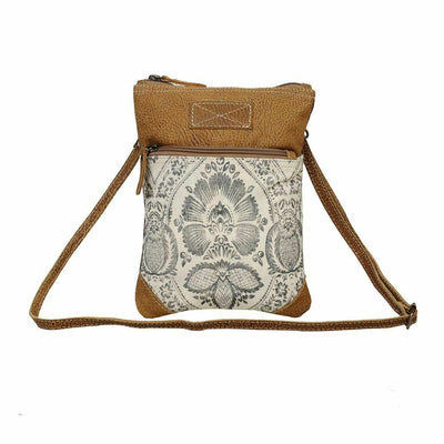 Myra Upcycled Soul Searcher Small Canvas Leather Cross Body Bag - Piglet's Closet